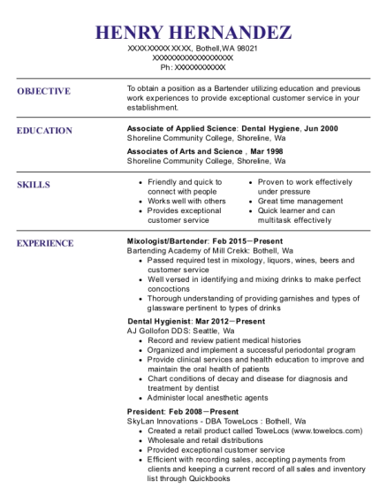 Mixologist resume example Washington