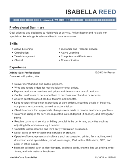 Xfinity Sale Professional resume sample Washington