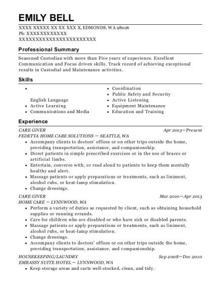 CARE GIVER resume format Washington