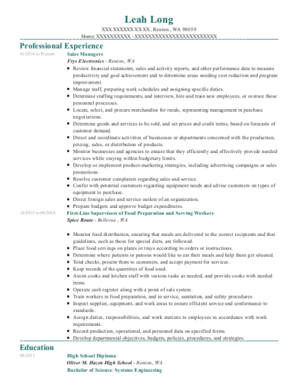 Sales Managers resume template Washington