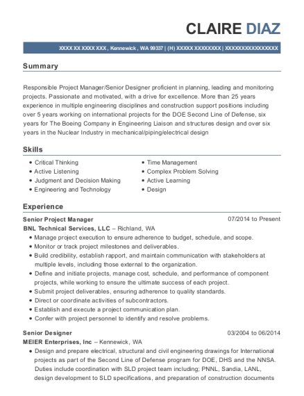Senior Project Manager resume example Washington
