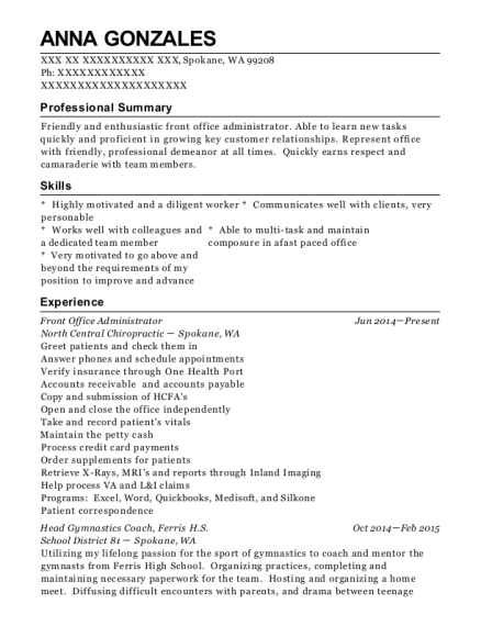 Front Office Administrator resume template Washington
