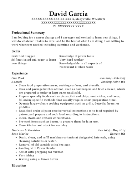 Line Cook resume example Washington