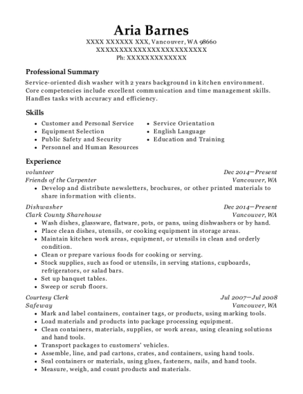 volunteer resume format Washington