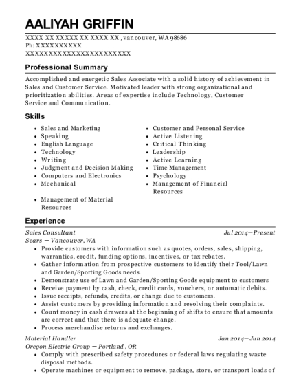 Sales Consultant resume example Washington
