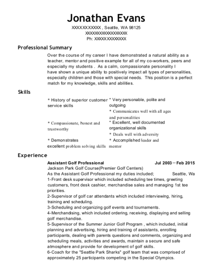 Assistant Golf Professional resume sample Washington