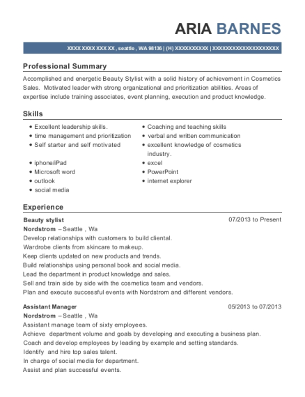 Beauty stylist resume example Washington