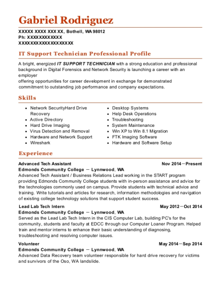Advanced Tech Assistant resume template Washington