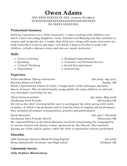 Violin and Music Theory Instructror resume example Washington