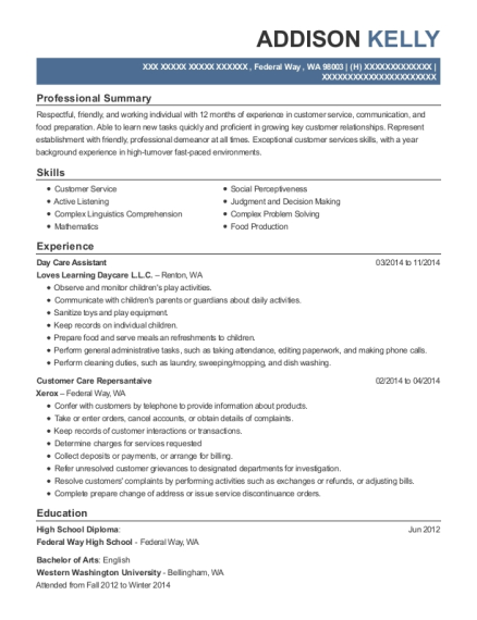 Day Care Assistant resume template Washington