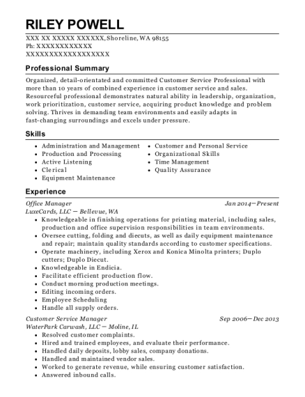 Office Manager resume template Washington