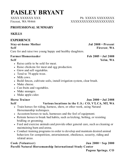 Stay at home Mother resume sample Washington