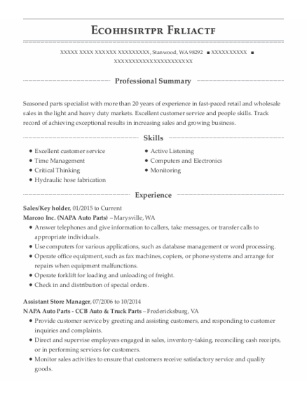 Sales resume format Washington