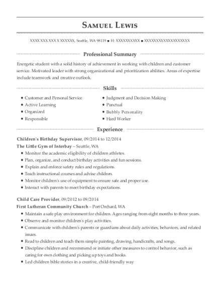 Childrens Birthday Supervisor resume template Washington