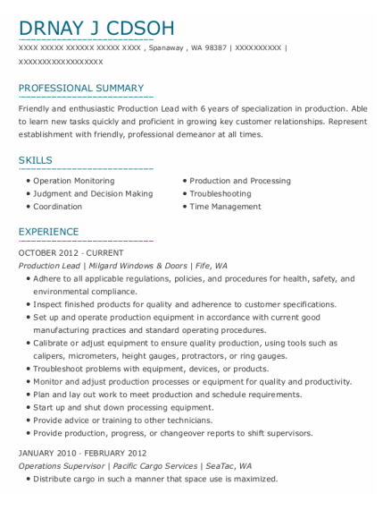 Production Lead resume example Washington