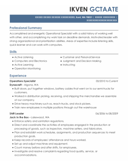 Operations Specialist resume sample Washington