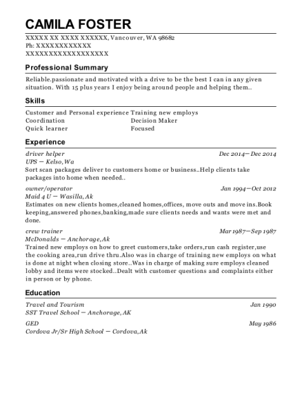 driver helper resume sample Washington