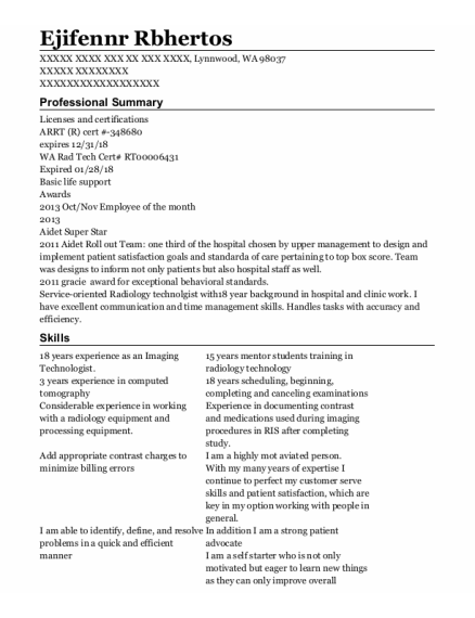 Reporting & Document Imaging System Administrator resume sample Washington