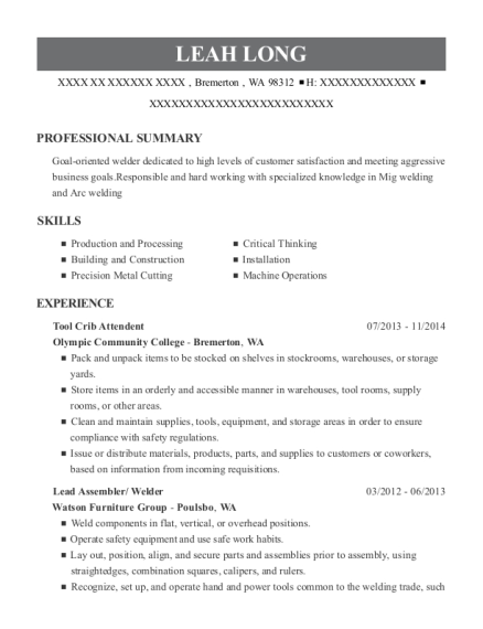 Tool Crib Attendent resume sample Washington