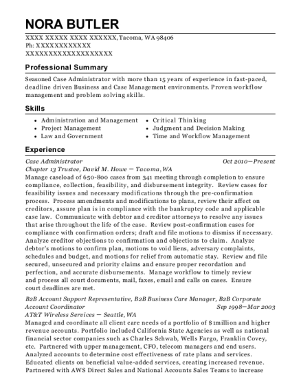 Case Administrator resume example Washington