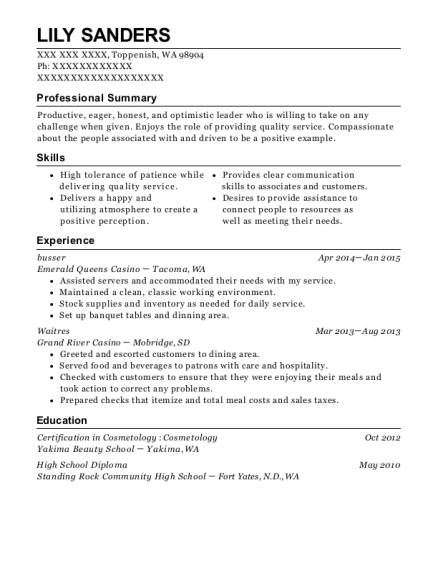 Busser resume sample Washington