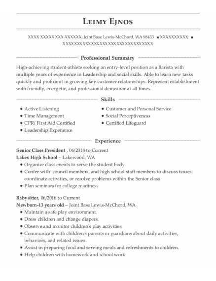 Babysitter resume format Washington
