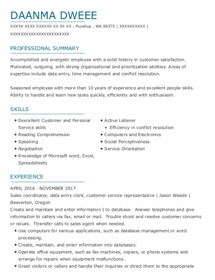 Sales Coordinator resume template Washington