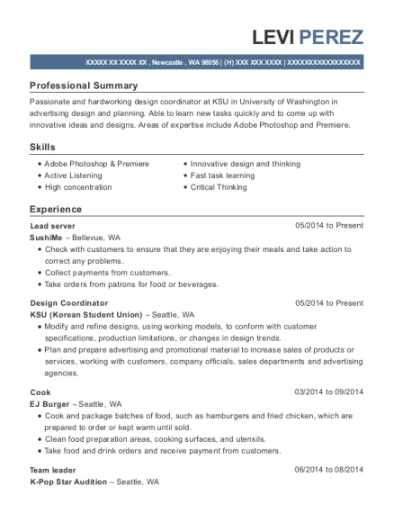 Lead server resume example Washington
