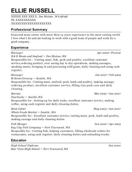 Manager resume example Washington