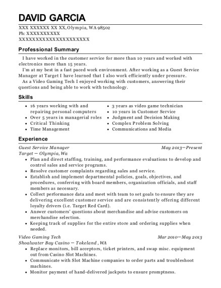 Guest Service Manager resume template Washington