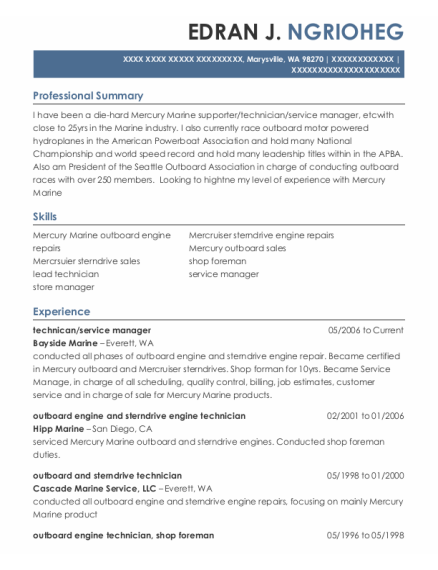 Technican resume example Washington