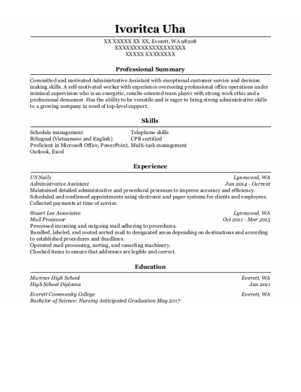 Administrative Assistant resume example Washington