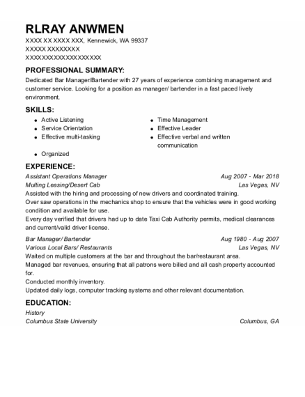 Assistant Operations Manager resume example Washington