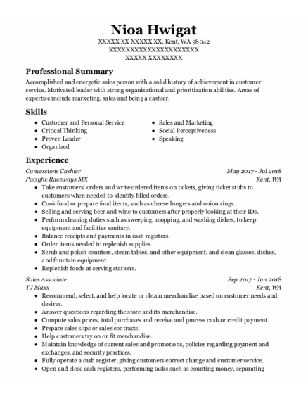 Concessions Cashier resume sample Washington