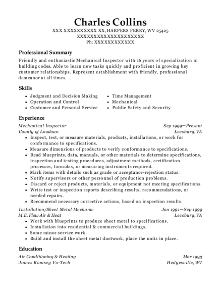 Mechanical Inspector resume format West Virginia