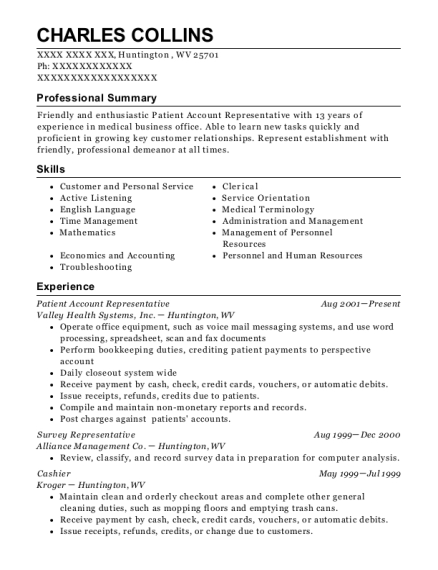 Patient Account Representative resume format West Virginia