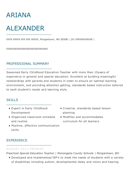 Preschool Special Education Teacher resume template West Virginia