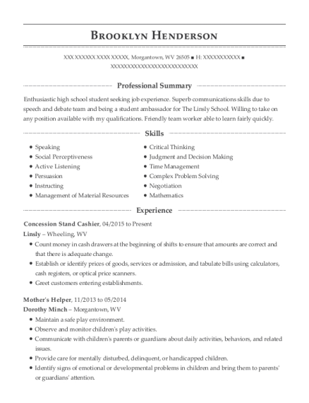 Concession Stand Cashier resume example West Virginia