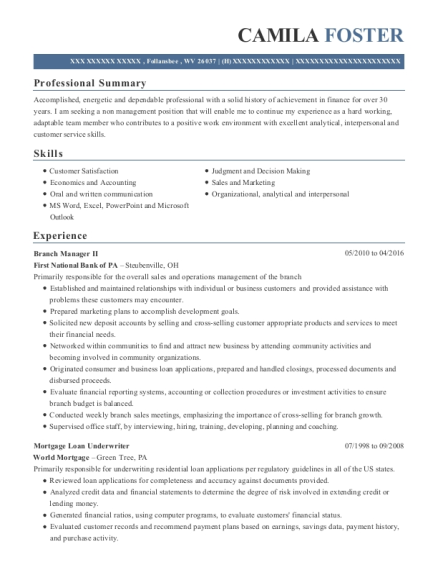Branch Manager II resume template West Virginia