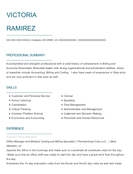 Office Manager and Medical Coding and Billing Specialist resume sample West Virginia