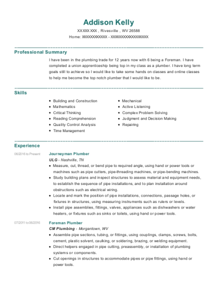 Journeyman Plumber resume example West Virginia