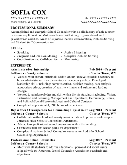 Administration Internship resume template West Virginia