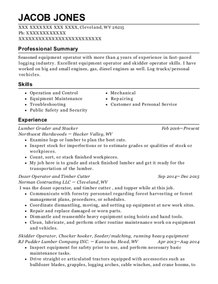 Lumber Grader and Stacker resume template West Virginia