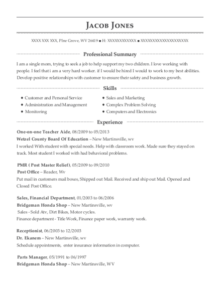 One on one Teacher Aide resume sample West Virginia