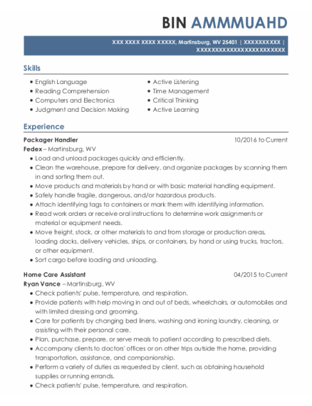 Home Care Assistant resume sample West Virginia