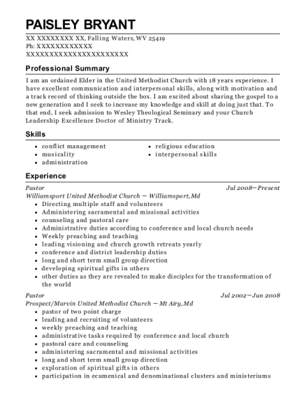Pastor resume format West Virginia