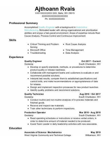 Quality Engineer resume example West Virginia
