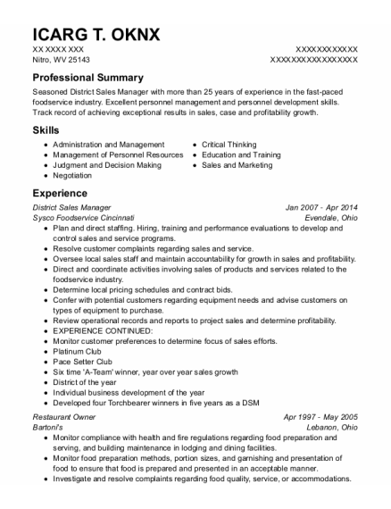 District Sales Manager resume template West Virginia