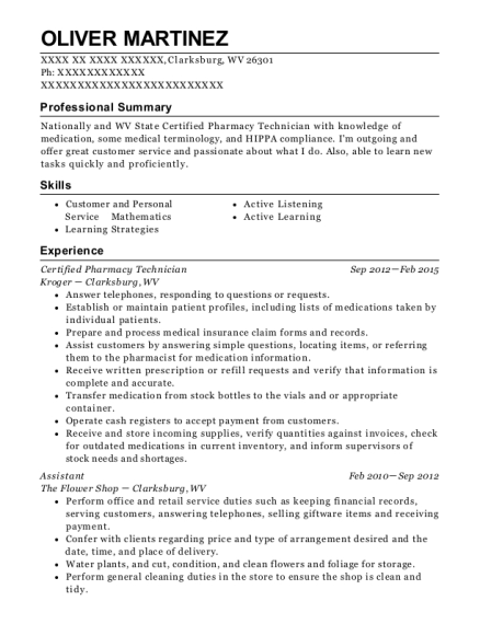 Certified Pharmacy Technician resume template West Virginia