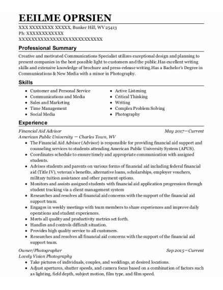 Financial Aid Advisor resume format West Virginia
